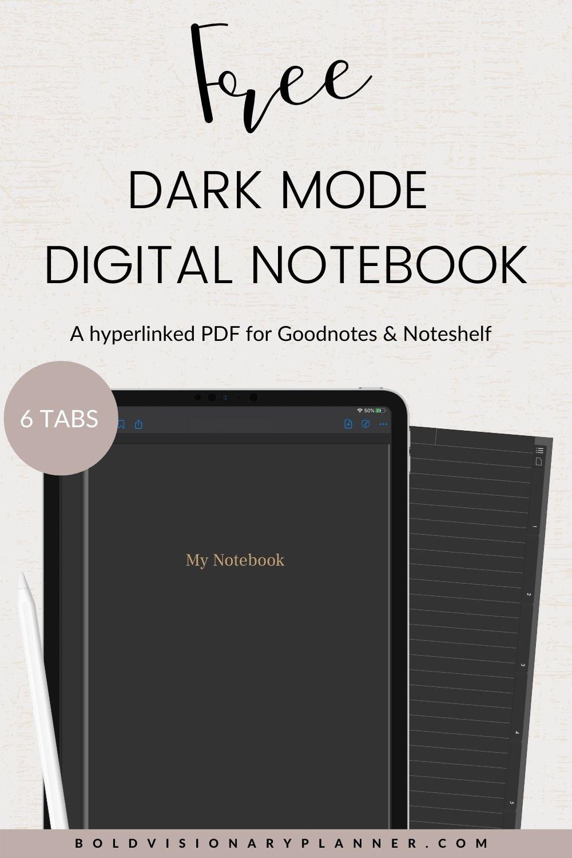 FREE DARK MODE DIGITAL NOTEBOOK