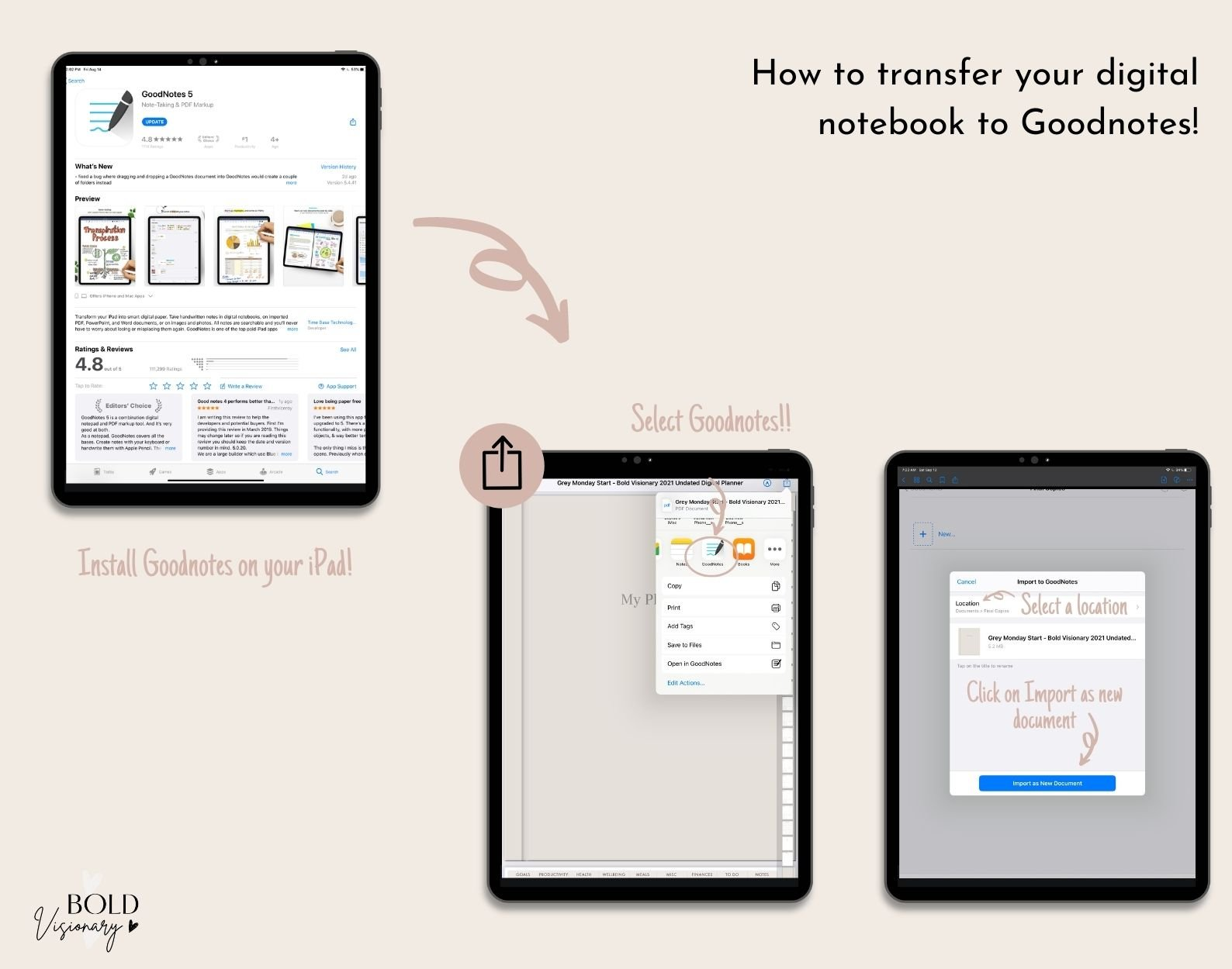 how to transfer a digital planner into goodnotes